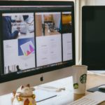 Computer screen, sturbucks cup, Chinese Cat figurine, paperwork